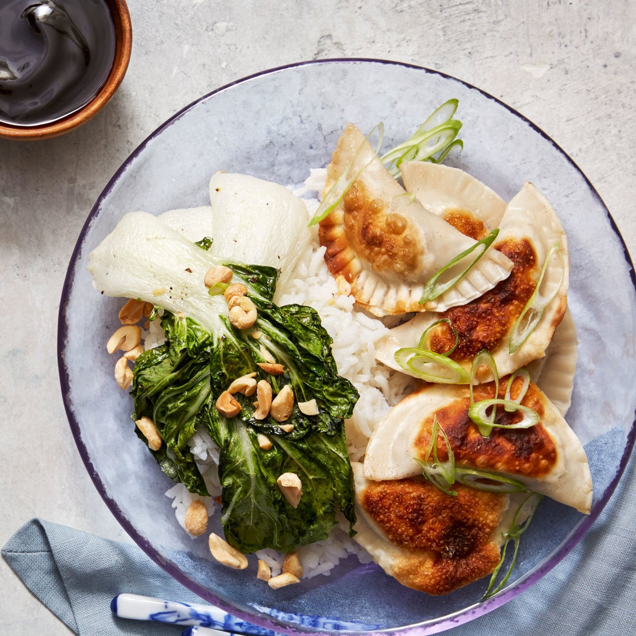 Mushroom & Cabbage Dumplings with Roasted Bok Choy & Basmati Rice
