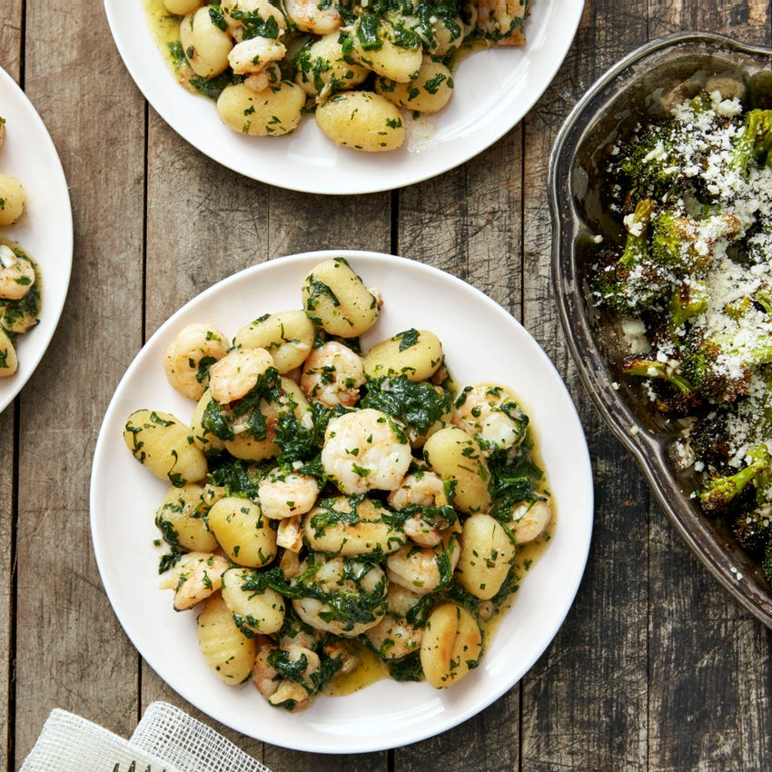 Pesto Shrimp & Gnocchi with Roasted Broccoli
