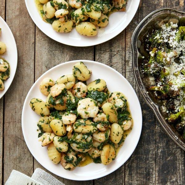 Pesto Shrimp & Gnocchi with Roasted Broccoli