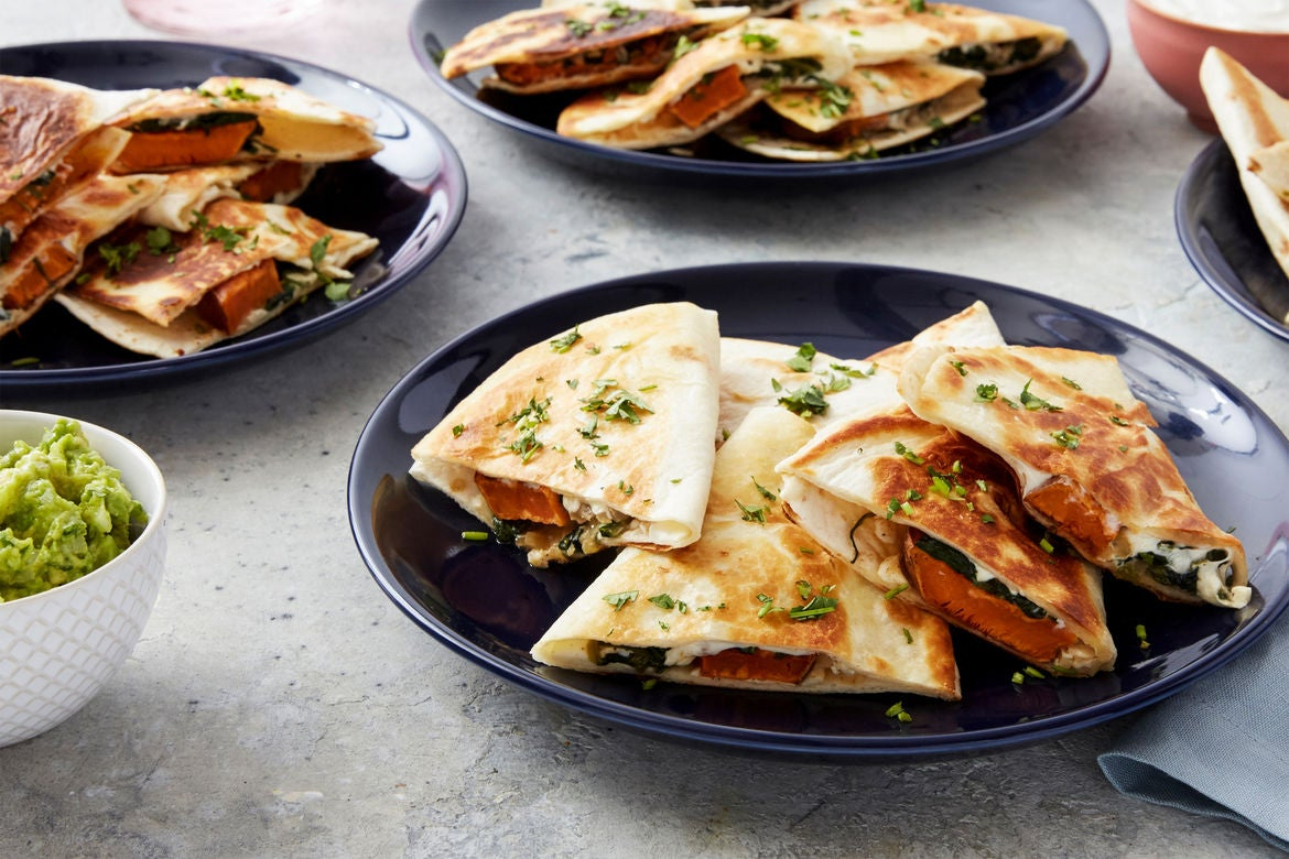 Spinach & Sweet Potato Quesadillas with Queso Oaxaca & Guacamole