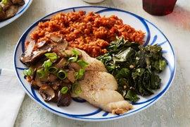 Cajun Catfish & Spiced Rice with Collard Greens & Mushrooms