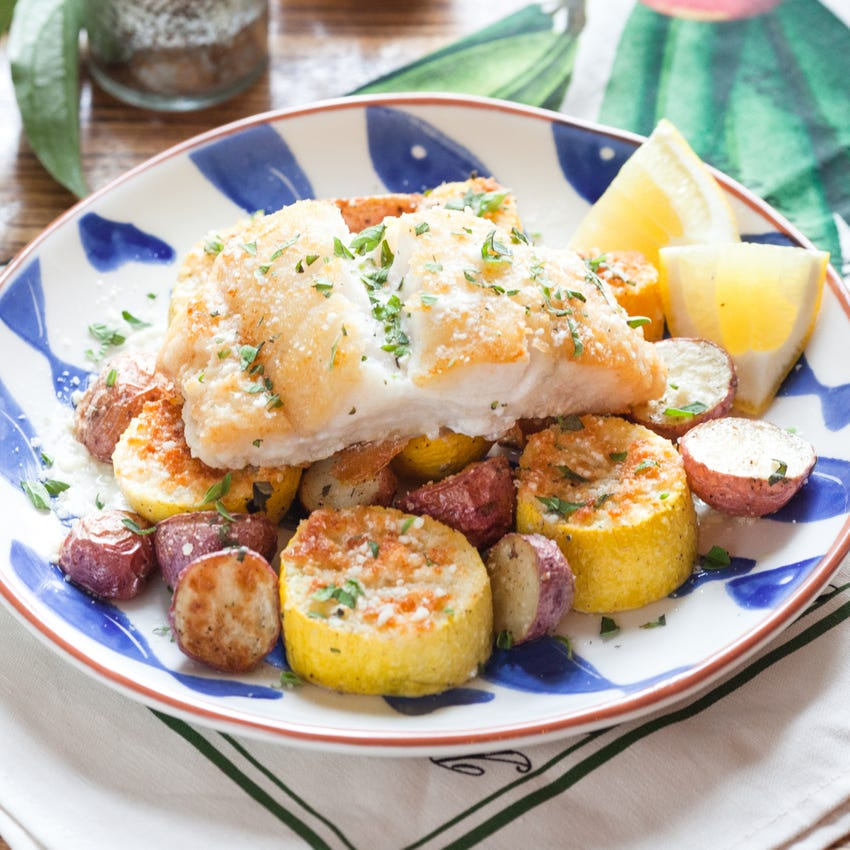 Recipe Pan Seared Cod With Parmesan Crusted Squash Roasted Red Potatoes Blue Apron