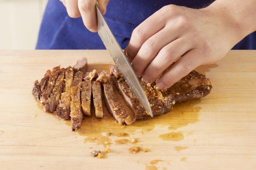 Slice the steak: