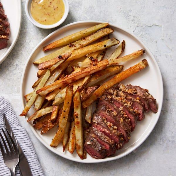 Steak Frites with Creamy Mustard Sauce & Arugula Salad