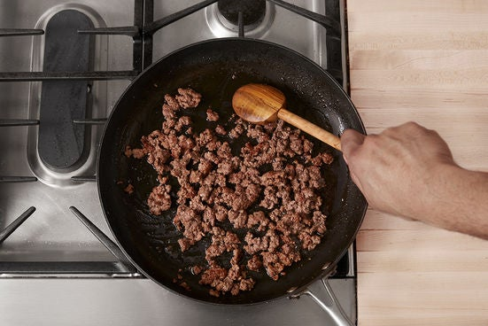 Brown the ground lamb & beef: