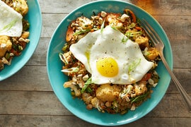 Vegetable Fried Rice Bowls with Cauliflower, Gai Lan & Fried Eggs