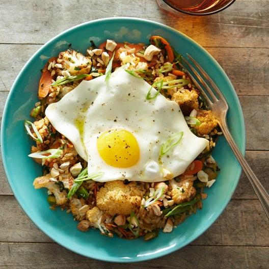 Vegetable Fried Rice Bowls with Cauliflower, Gai Lan & Fried Eggs