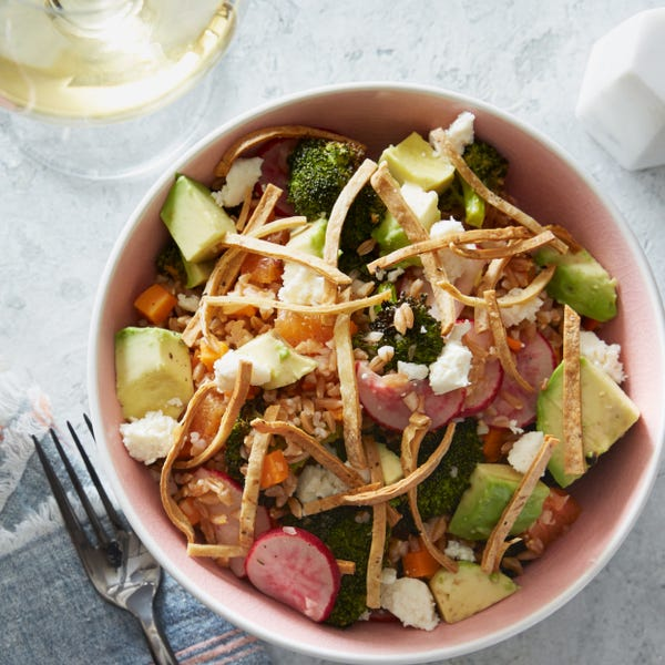 Chipotle Vegetable & Farro Salad with Avocado & Crispy Tortilla Strips
