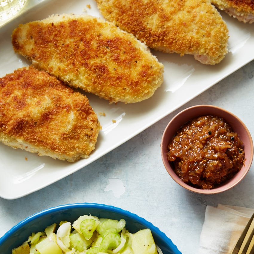 Chicken Milanese with Lemon Potato Salad & Fig Jam