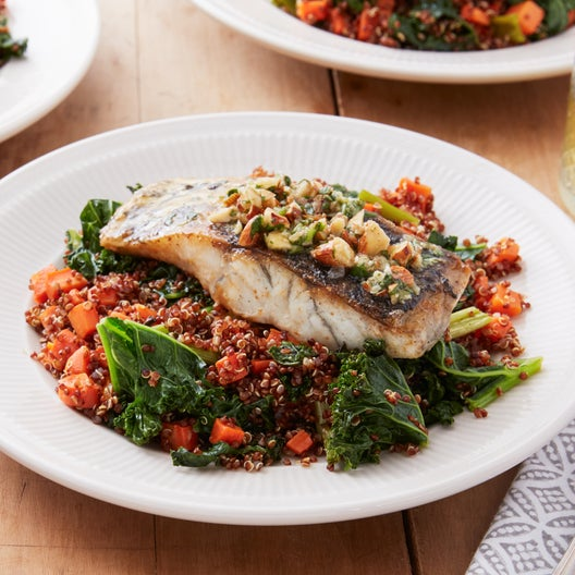 Crispy Barramundi with Quinoa & Roasted Carrot Salad