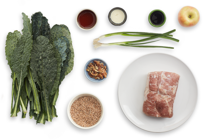 Roasted Pork with Apple, Walnut & Farro Salad