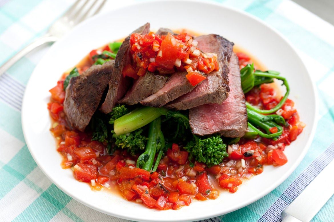 Steak with Salsa Rossa & Broccoli Rabe