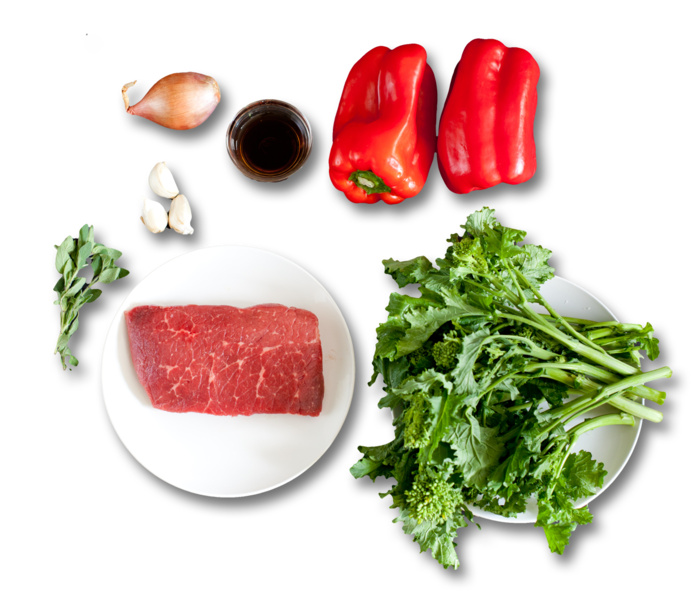 Steak with Salsa Rossa & Broccoli Rabe ingredients