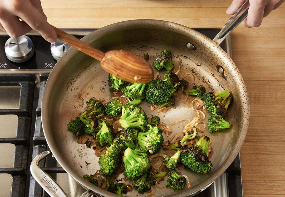 Cook the broccoli & finish the couscous: