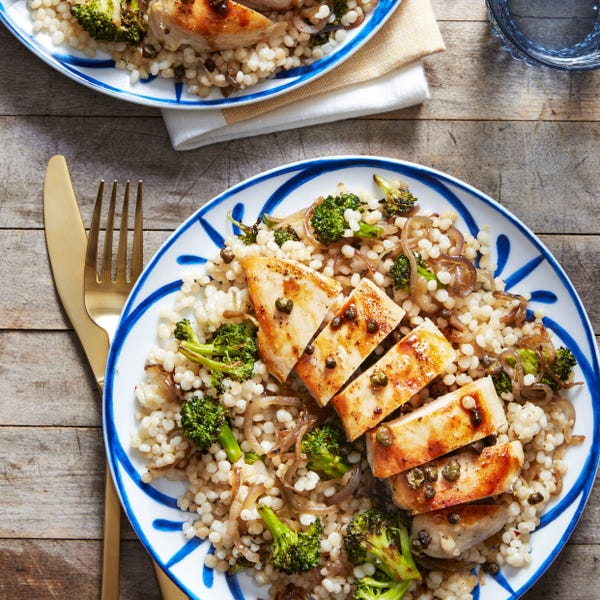 Seared Chicken & Pearl Couscous with Crispy Capers & Blood Orange Sauce