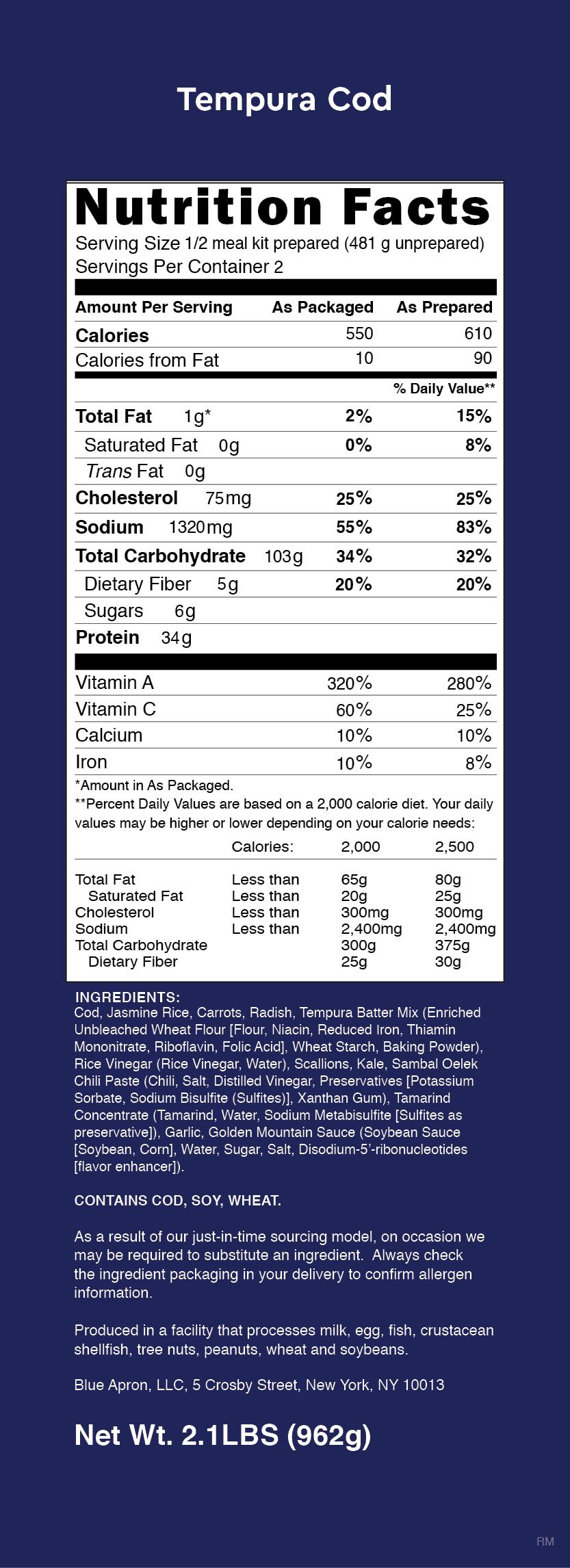 Blue apron tempura cod - Nutrition Label