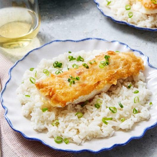 Tempura Fried Cod with Thai-Style Vegetable Salad & Jasmine Rice