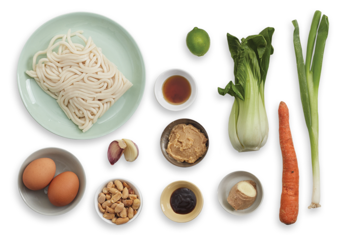 Udon Noodle Soup with Miso & Soft-Boiled Eggs ingredients