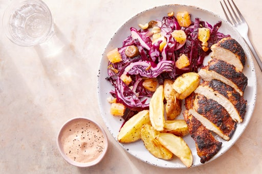 Seared Chicken & Chipotle Yogurt with Spicy Orange Slaw & Roasted Potatoes