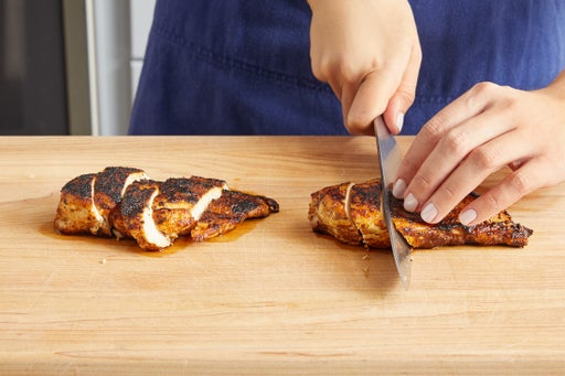Slice the chicken & finish your dish: