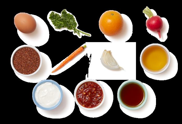 Marinated Vegetable & Quinoa Bowl with Sesame Kale & Spicy Orange