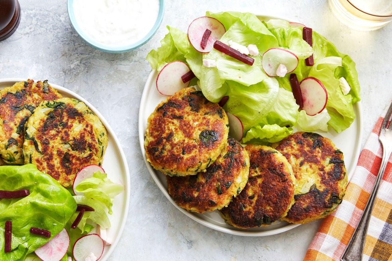 Vadouvan-Spiced Vegetable Fritters with Lemon Yogurt & Butter Lettuce Salad