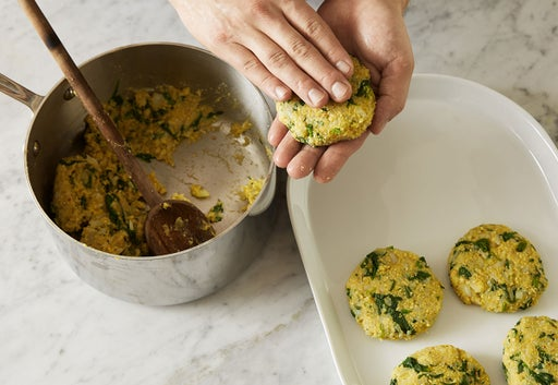 Form the fritters: