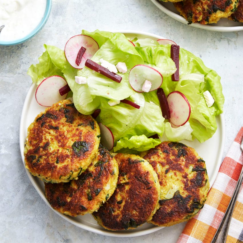 Vadouvan-Spiced Vegetable Fritters with Lemon Yogurt & Butter Lettuce Salad
