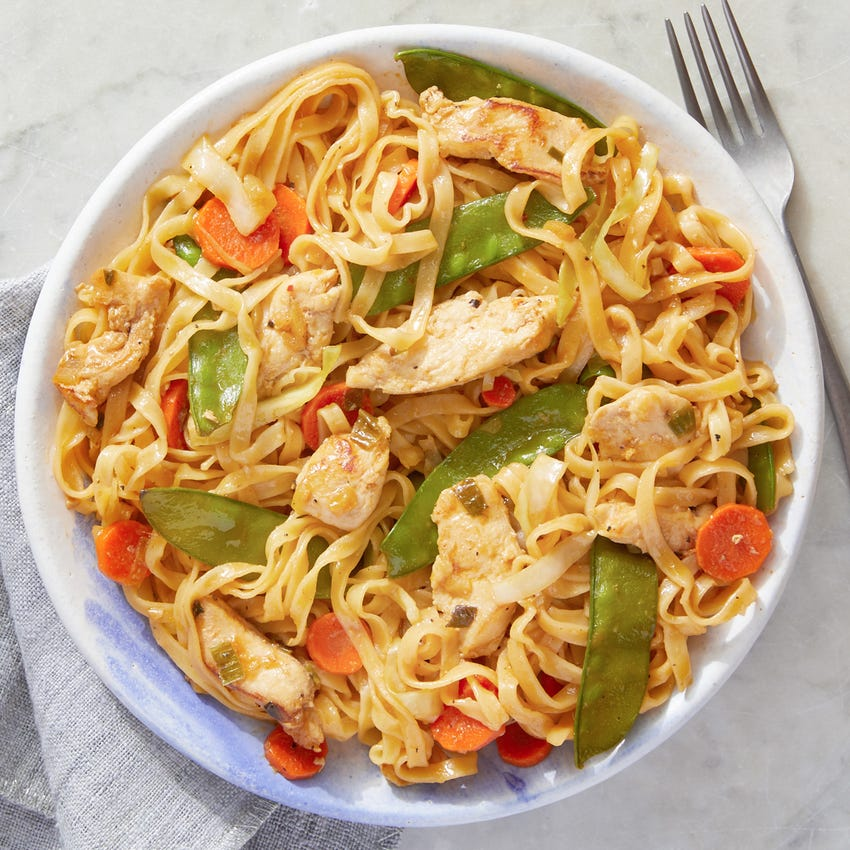 Chicken & Wonton Noodle Stir-Fry with Snow Peas, Carrots, & Cabbage