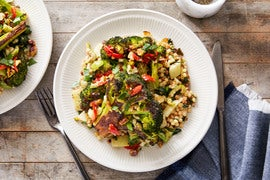 Roasted Broccoli & Fregola Sarda with Pepper & Olive Salsa