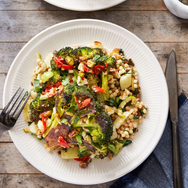 Roasted Broccoli & Fregola Sarda with Pepper & Olive Salsa
