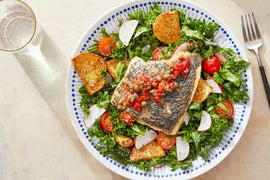 Seared Barramundi & Caper Relish with Roasted Potatoes & Marinated Kale