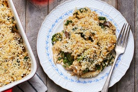 Chicken & Rice Casserole with Kale & Cremini Mushrooms
