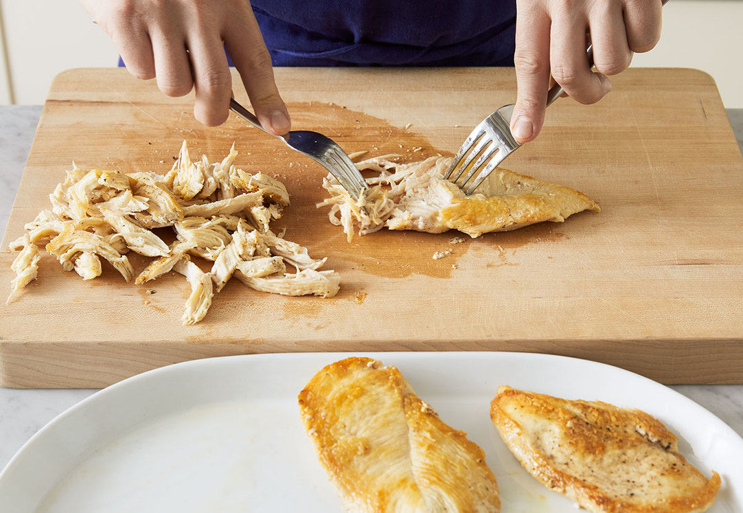Cook & shred the chicken: