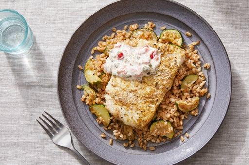 Tuscan-Spiced Cod with Farro, Zucchini, & Pepper-Caper Mayo