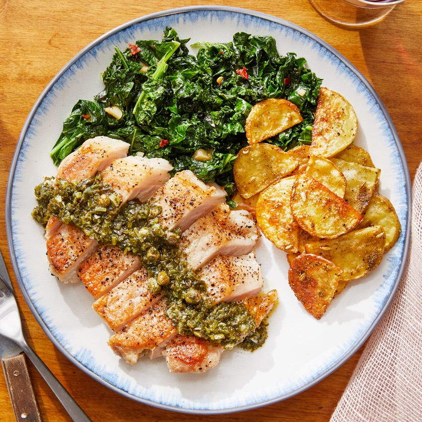 Tuscan-Style Pork Chops with Roasted Potatoes & Salsa Verde