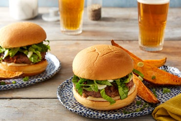 Shiitake & Hoisin Beef Burgers with Miso Mayonnaise & Roasted Sweet Potatoes