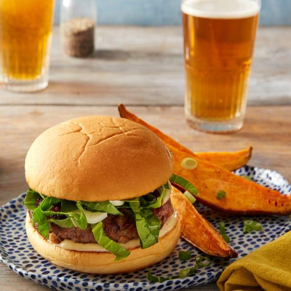 Shiitake & Hoisin Beef Burgers with Miso Mayonnaise & Roasted Sweet Potatoes