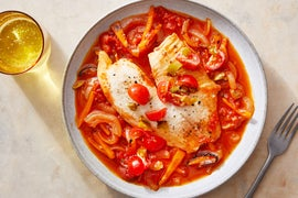 Shallow-Poached Tilapia with Peppers, Onions, & San Marzano Tomatoes