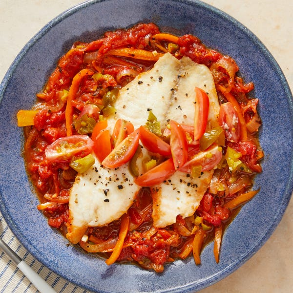 Shallow-Poached Tilapia with Peppers, Onions & San Marzano Tomatoes