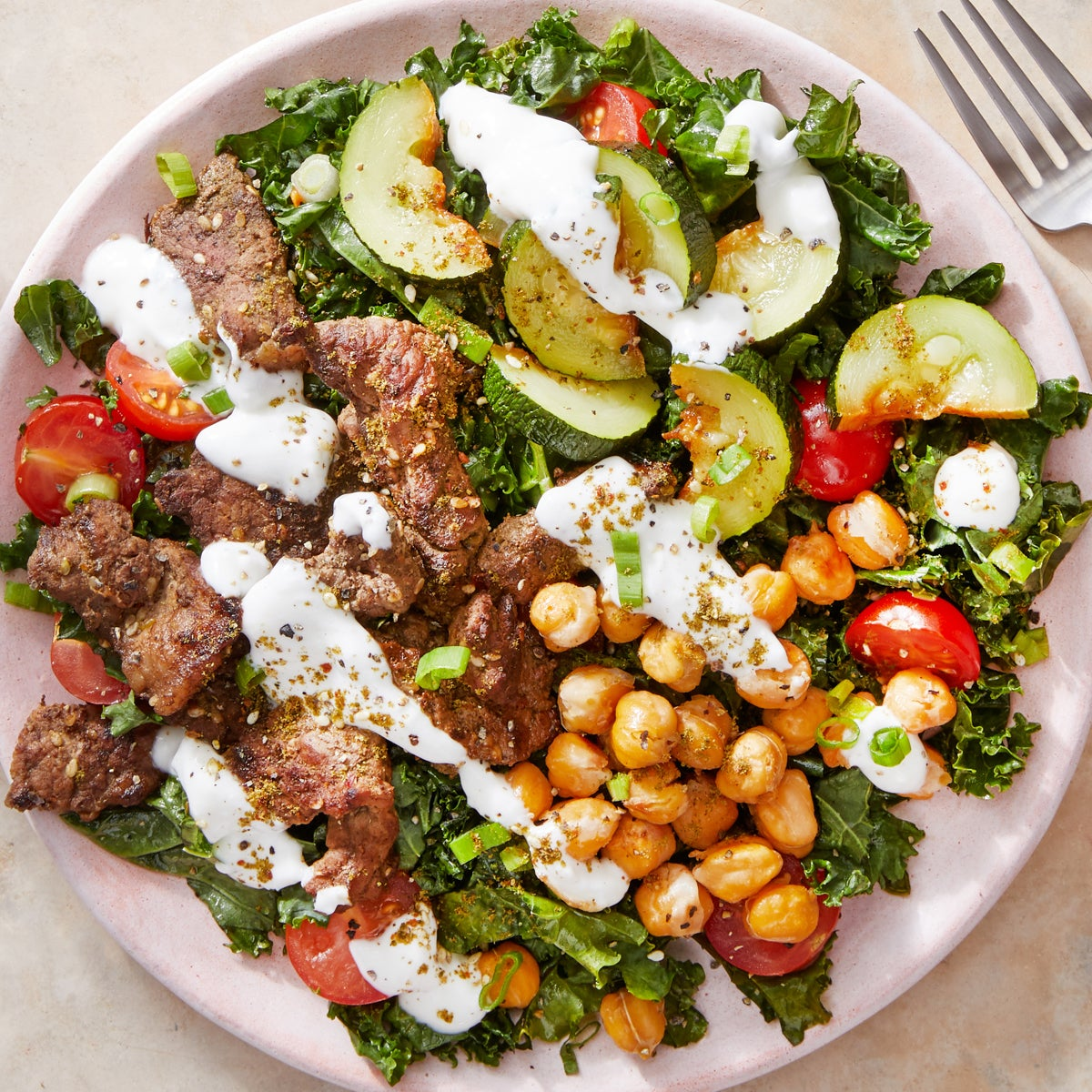 Za'atar Beef & Kale Salad with Crispy Chickpeas & Yogurt Dressing