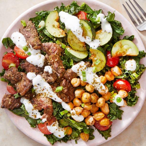 Za'atar Beef & Kale Salad with Crispy Chickpeas & Yogurt Dressing