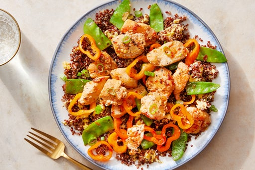 """Spicy Chicken & Quinoa """"Fried Rice"""" with Snow Peas & Sweet Peppers"""