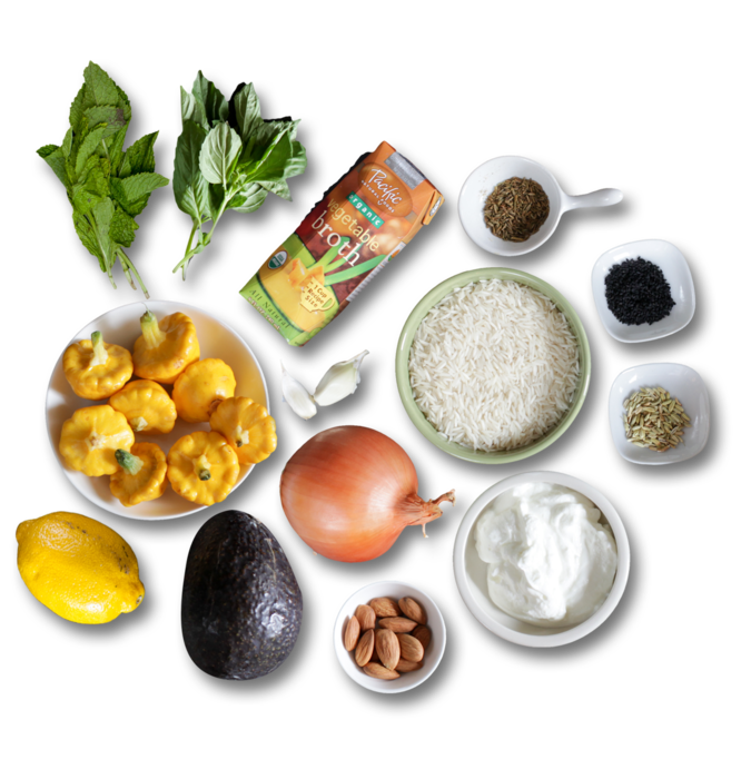 Aromatic Basmati Rice Pilaf with Baby Pattypan Squash ingredients