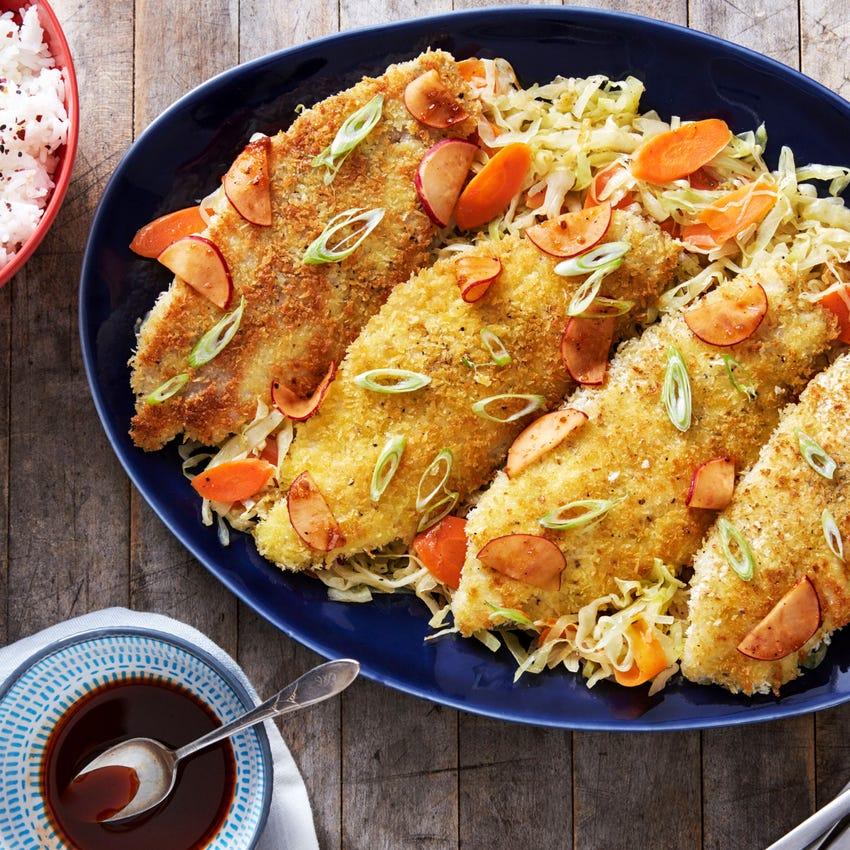 Catfish Katsu & Yakiniku Sauce with Sesame Cabbage & Jasmine Rice