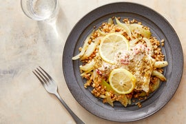 Foil Packet Cod with Farro, Fennel, & Roasted Pepper-Caper Mayo