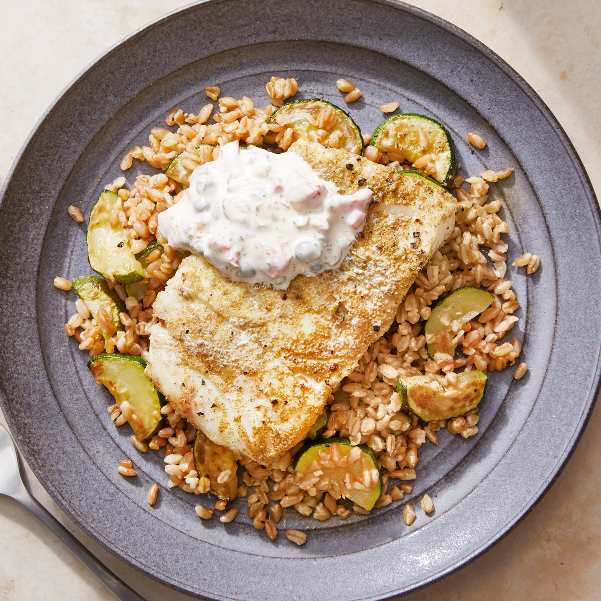 Foil Packet Cod with Farro, Zucchini, & Roasted Pepper-Caper Mayo