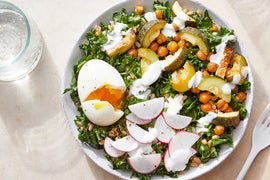 Dukkah-Spiced Vegetable & Farro Bowls with Soft-Boiled Eggs