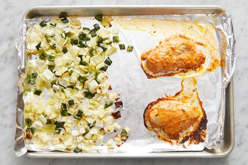 Roast the vegetables & chicken: