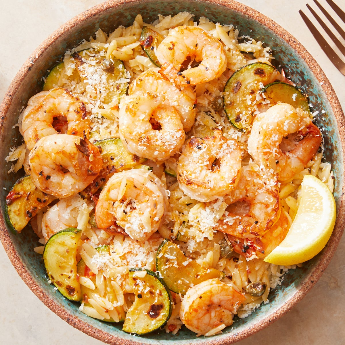 Creamy Lemon Shrimp & Orzo with Zucchini
